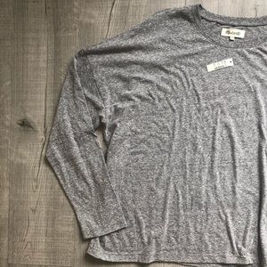 Madewell Top Tee Long Sleeve Heatheree Gray Plus